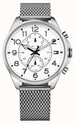 Tommy Hilfiger Mens Dean Stainless Steel Bracelet White Dial 1791277