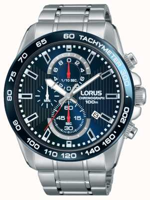 Lorus Mens Chronogaph Stainless Steel Blue Dial RM375CX9
