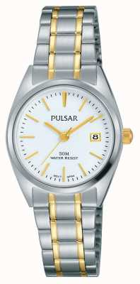 Pulsar Womens Two Tone Stainless Steel White Dial PH7441X1