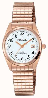 Pulsar Womens Rose Gold Tone Stainless Steel White Dial PH7446X1