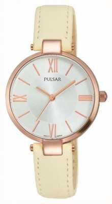 Pulsar Womens Cream Leather Strap Silver Dial PH8246X1