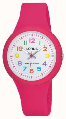 Lorus Unisex Pink Rubber Strap White Dial RRX49EX9