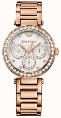 Juicy Couture Womens Cali Rose Gold Tone Stainless Steel Silver Dial 1901505