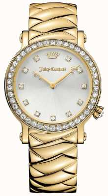 Juicy Couture Womens LA Luxe Gold Tone Stainless Steel Silver Dial 1901488