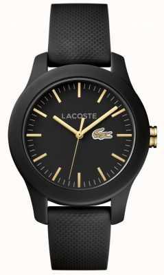 Lacoste Unisex 12.12 Black Rubber Strap Black Dial 2000959