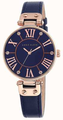 Anne Klein Womens Blue Leather Strap Blue Dial 10/N9918RGNV