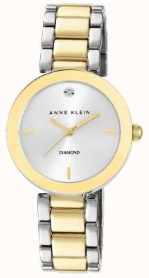 Anne Klein Womens Two Tone Bracelet Silver Dial AK/N1363SVTT