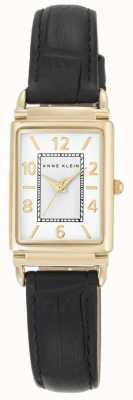 Anne Klein Womens Black Leather Strap White Dial AK/N2394WTBK