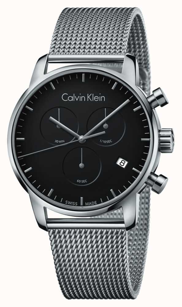 e0c6653d1 Calvin Klein Mens City Chronograph Stainless Steel Black Dial ...
