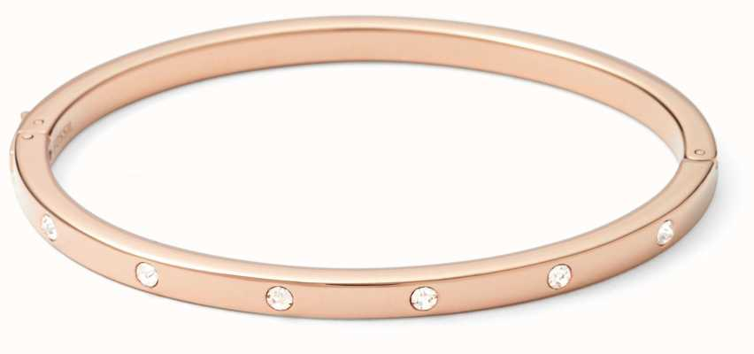 Fossil Womens Stone Set PVD Rose Gold Plated Bangle JF00843791