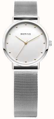 Bering Womans Stainless Steel Silver Mesh Strap Gold Markers 13426-001