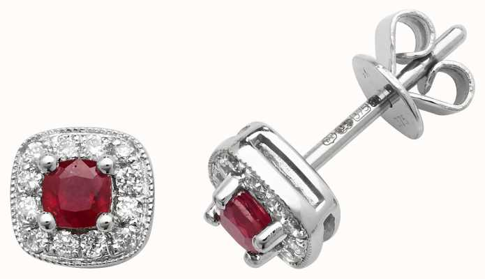 Treasure House 9k White Gold Diamond Ruby Cushion Stud Earrings ED252WR