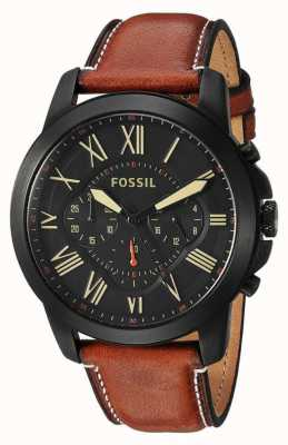 Fossil Mens Brown Leather Black Steel Dial FS5241