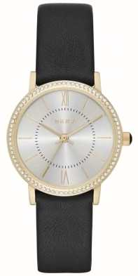 DKNY Womans Willoughby Silver Dial Black Leather NY2552