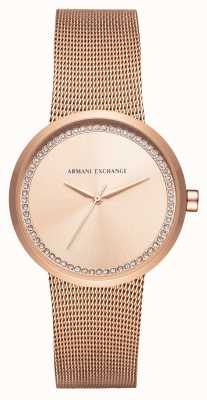 Armani Exchange Womans Rose Gold Stainless Steel Mesh AX4503