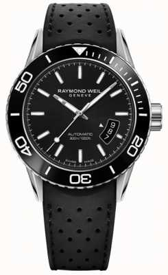 Raymond Weil Mens Automatic Black Dial Rubber Strap 2760-SR1-20001