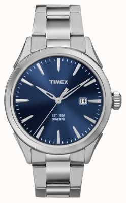 Timex Mens Chesapeake 3 Hand Silver Tone Blue Dial TW2P96800