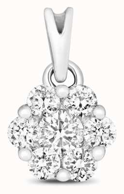 James Moore TH 9ct White Gold Diamond Cluster Pendant Only PD155W