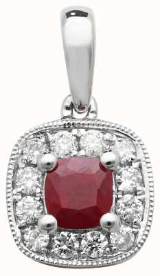 James Moore TH 9k White Gold Diamond and Ruby Cushion Pendant PD242WR
