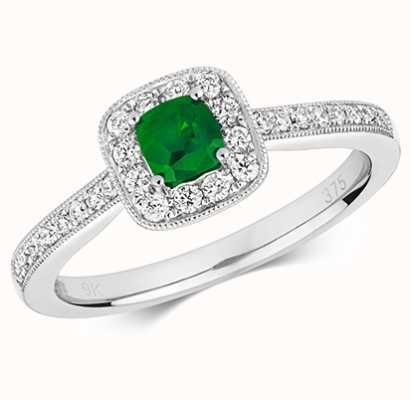 Treasure House 9k White Gold Emerald Diamond Cluster Cushion Ring RD412WE