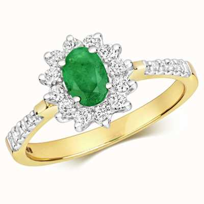 Treasure House 9k Yellow Gold Diamond Emerald Oval Cluster Ring RD502EM
