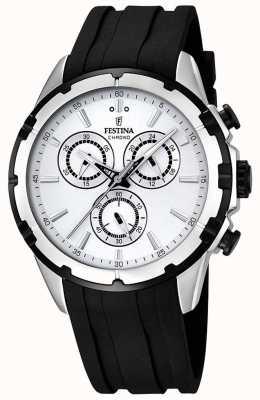 Festina Mens Chronograph Black Rubber Strap White Dial F16838/1