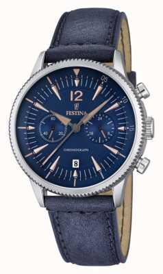 Festina Mens Blue Chrono, Blue Leather F16870/2