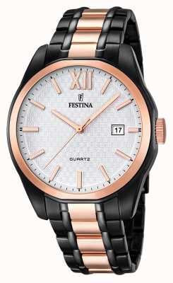 Festina Festina Mens Rose Gold-Black PVD Plated Steel Bracelet F16853/1