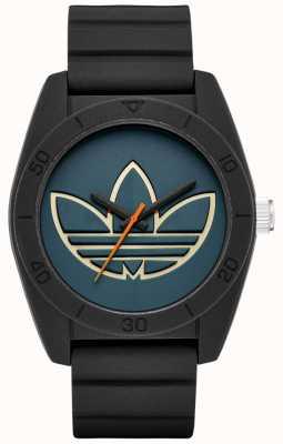 adidas Originals Santiago Black Silicone Strap Blue Dial ADH3166