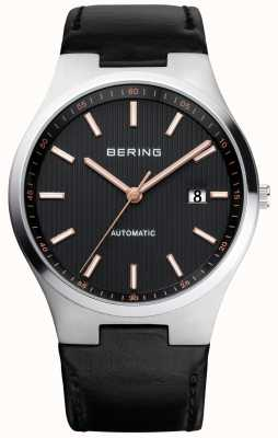 Bering Mens Automatic Black Leather Rose Dial Details 13641-402
