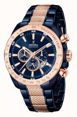 Festina Mens Two Tone Blue Rose Gold Chronograph F16886/1