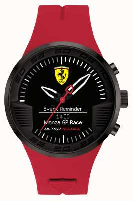 Scuderia Ferrari Mens Red Rubber Black Alarm Watch 0830374