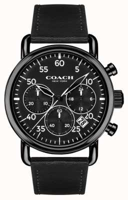 Coach Mens Delancey Chronograph Black Leather Strap Black Dial 14602107