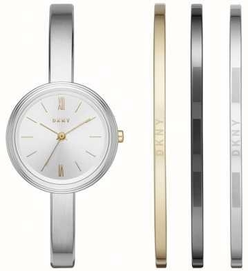 DKNY Womans Silver Watch 3 Bangle Gift Set NY2577