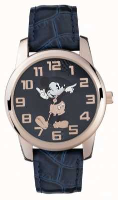 Disney Adult Mickey Mouse Rose Gold Case Blue Strap MK1456