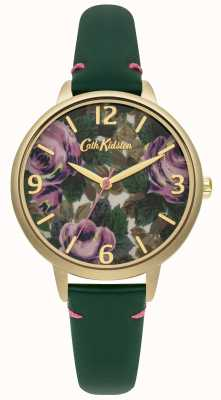 Cath Kidston Ladies Bottle Green Leather Oxford Rose Watch CKL001NG