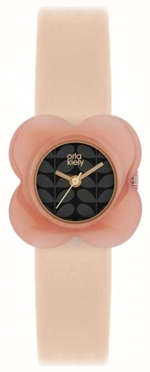 Orla Kiely Womens Poppy Pink Leather Strap Ok2060 First
