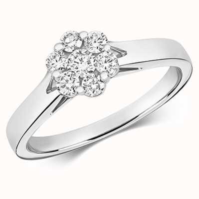 Treasure House 9k White Gold Diamond Cluster Ring RD655W