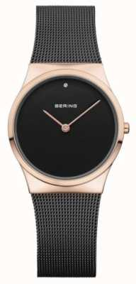 Bering Womans Classic Mesh Black Rose Gold Case 12130-166