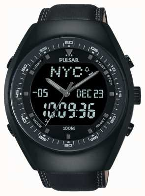 Pulsar Gents Analogue/Digital Black Leather Watch PZ4019X1
