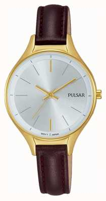Pulsar Ladies Brown Leather Gold Watch PH8280X1
