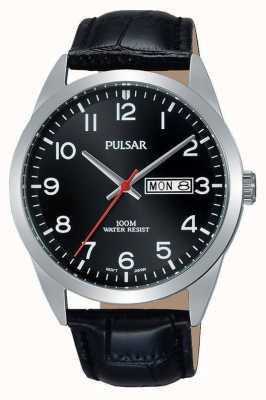 Pulsar Gents Black Leather Black Dial Watch PJ6067X1
