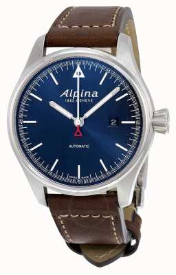 Alpina Mens Startimer Automatic Brown Leather Strap Blue Dial AL-525N4S6