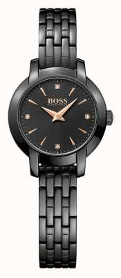 Boss Womens Success Black Plated Steel Bracelet Black Dial 1502387