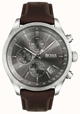 Boss Mens Grand Prix Brown Leather Strap Grey Dial 1513476