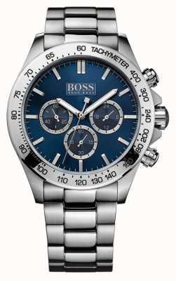 Hugo Boss Mens Ikon Stainless Steel Bracelet Blue Dial 1512963