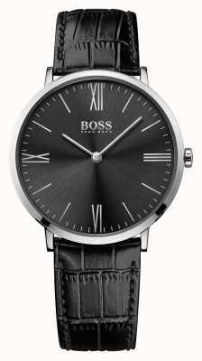 Hugo Boss Mens Jackson Black Leather Strap Black Dial 1513369