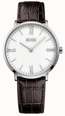 Hugo Boss Mens Jackson Brown Leather Strap White Dial 1513373