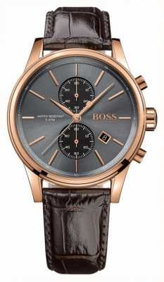 Boss Mens Jet Brown Leather Strap Grey Dial 1513281