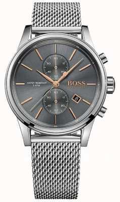 Hugo Boss Mens Jet Stainless Steel Mesh Bracelet Grey Dial 1513440